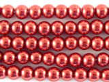 Red Glass Pearl Beads 4mm (PG25)