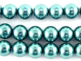 Teal Glass Pearl Beads 8mm (PG33)