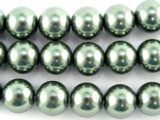 Sage Green Glass Pearl Beads 10mm (PG49)
