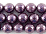 Purple Faceted Glass Pearl Beads 9mm (PG52)