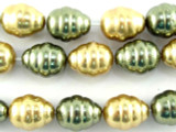Gold & Green Glass Pearl Beads 12mm (PG57)