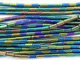 Jeweltone Electroplated Hematite Tube Gemstone Beads 4mm (GS3059)