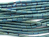 Teal Electroplated Hematite Tube Beads 5mm (GS3064)