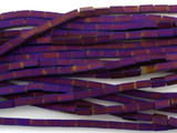 Purple Electroplated Rectangular Tube Hematite Gemstone Beads 4mm (GS3066)