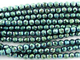 Teal Electroplated Hematite Faceted Round Gemstone Beads 4mm (GS3080)