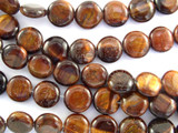 Red Tiger Eye Round Tabular Gemstone Beads 10mm (GS3094)