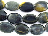 Blue Tiger Eye Oval Gemstone Beads 24mm (GS3097)