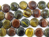 Mixed Tiger Eye Round Tabular Gemstone Beads 14mm (GS3099)