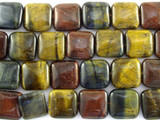 Mixed Tiger Eye Square Tabular Gemstone Beads 16mm (GS3100)
