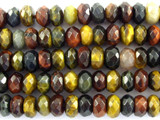 Mixed Tiger Eye Faceted Rondelle Gemstone Beads 8mm (GS3103)