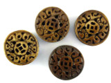Brown Carved Round Bone Bead 25mm (AP1736)