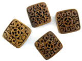 Brown Carved Square Bone Bead 24mm (AP1737)