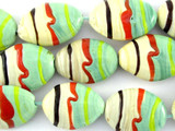 Green & Tan Striped Lampwork Glass Beads 26mm (LW1445)