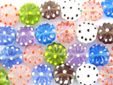 Multicolored Pastel Flower Lampwork Glass Beads 18mm (LW1446)