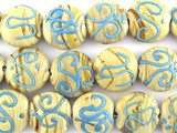 Tan w/Turquoise Swirl Lampwork Glass Beads 18mm (LW1448)