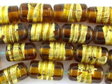 Honey Cylinder Foil Lampwork Glass Beads 18mm (LW1503)