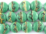 Green Wave Lampwork Glass Beads 18mm (LW1452)