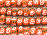 Orange Rondelle Lampwork Glass Beads 13mm (LW1458)