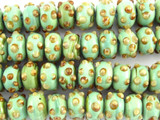 Mint Green Rondelle Lampwork Glass Beads 15mm (LW1465)