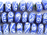 Blue w/White Glass Beads 12mm - Large Hole (LW1480)