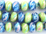 Blue & Green Rondelle Lampwork Glass Beads 14mm - Large Hole (LW1484)