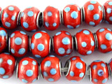 Red w/Blue Polka Dots Glass Beads 13mm - Large Hole (LW1486)
