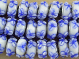 White w/Blue Flowers Lampwork Glass Beads 13mm - Large Hole (LW1489)