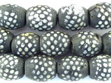 Charcoal w/White Glass Beads - Nepal 20mm (NP256)