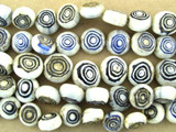 Spiral Tabular Glass Beads - Nepal 7mm (NP258)