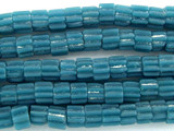Teal Fluted Glass Beads - Nepal 4mm (NP489)