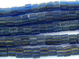 Dark Blue Fluted Glass Beads - Nepal 4mm (NP491)