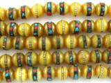Amber Resin w/Inlay Prayer Beads Mala - Nepal 6mm (NP498)
