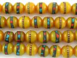 Amber Resin w/Inlay Prayer Beads Mala - Nepal 9mm (NP543)