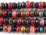 Multi-Color Rondelle Agate Gemstone Beads 10mm (GS3118)