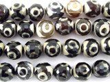 Black & White Tibetan Agate Gemstone Beads 12mm (GS3147)