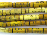 Tan w/Black Carved Bone Beads 18-22mm (B1262)