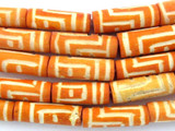 Orange Carved Bone Beads 18-22mm (B1265)