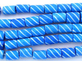 Blue Carved Bone Beads 8-10mm (B1277)