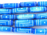Blue Carved Bone Beads 18-22mm (B1278)