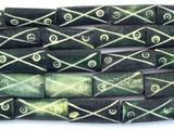 Dark Green Carved Bone Beads 20-24mm (B1282)