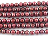 Mauve Potato Pearl Beads 4mm (PRL143)