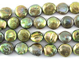 Metallic Green Coin Pearl Beads 10mm (PRL160)