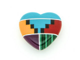 Inlaid Southwest Heart Bead - Pendant 14mm (AP1384)
