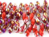 Red Teardrop Crystal Glass Beads 10mm (CRY127)