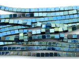 Blue Electroplated Chromitite Cube Gemstone Beads 3mm (GS3164)