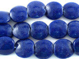 Blue Tabular Recycled Glass Beads - Indonesia 13mm (RG557)