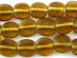 Transparent Amber Tabular Recycled Glass Beads - Indonesia 13mm (RG560)