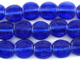 Transparent Cobalt Tabular Recycled Glass Beads - Indonesia 13mm (RG561)