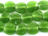 Green Tabular Recycled Glass Beads - Indonesia 16mm (RG562)