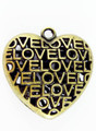 Brass Love Heart - Pewter Pendant 34mm (PW677)
